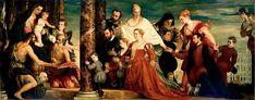 Madonna della famiglia Cuccina.  167x657. 1571. Gemäldegalerie Alte Meister Dresden. Parte di un gruppo che decorava palazzo Papadopoli (allora Palazzo Coccina) insieme all'Andata al Calvario, l'adorazione dei Magi e le nozze di cana. Furono acquistati in  blocco da Francesco I nel 1645