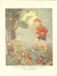 """c.1925 ~ """" How Johnny Tried To Catch The Fairies"""" by Inez Topham, from the thirteenth edition of The Chummy Book"""