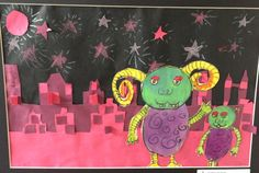 Check out this cool collage of aliens in a city! Made by Ella, 7 years old, Artist Of The Day on 05/11/2013 • Art My Kid Made #kidart #aliens