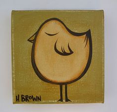 heather brown surfer girl blonde | Heather Brown Art vintage 6x6 bird on canvas
