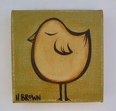 heather brown surfer girl blonde | Heather Brown Art vintage 6x6 bird on canvas