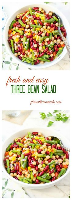 fresh-and-easy-three-bean-salad-collage | flavorthemoments.com