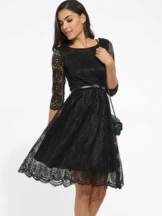 Fashionmia - Fashionmia Chic Lace Hollow Out Plain Skater-Dress - AdoreWe.com