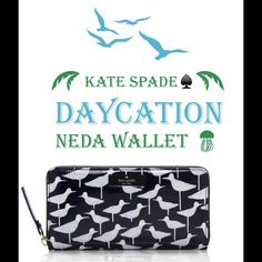 KATE SPADE♠️DAYCATION NEDA WALLET KATE SPADE♠️DAYCATION NEDA WALLET♠️Color: Sandpiper Navy14 Karat light gold plated hardwarePrinted coated poplin with patented pvc trimZip around continental wallet12 Credit card slots 3 bifoldsZipper change pocketExterior slide pocket♠️Perfect for winter vacation or a holiday gift kate spade Bags Wallets