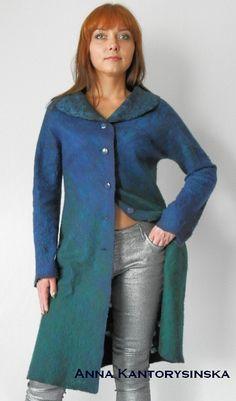 nuno felted coat PEACOCK COAT handmade felted door kantorysinska
