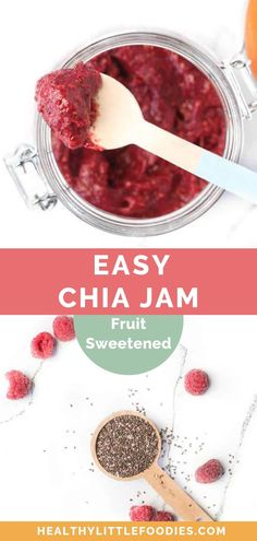 This no-cook chia seed jam is made with frozen raspberries and chia seeds. This no-cook chi Healthy Food Habits, Healthy Lunches For Kids, Healthy Meals To Cook, Healthy Food Choices, Good Healthy Recipes, Baby Food Recipes, Healthy Eating, Toddler Recipes, Healthy Breakfasts
