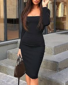 Black Bodycon Dress Outfit, Black Dress Outfits, Pencil Skirt Outfits, Cute Casual Outfits, Stylish Outfits, Stylish Dresses For Girls, Dressy Dresses, Bodycon Fashion, Bodycon Style