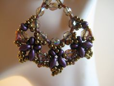 Beadwoven Dangle Earrings of Crystals, SuperDuos, Seed Beads in Purples, Crystal AB & Bronze  Gold Filled Leverback Ear wires