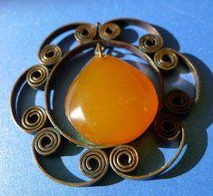 j83 Latvia Vintage Jewelry Orange Baltic Amber gem cabochon pendant charm 17g