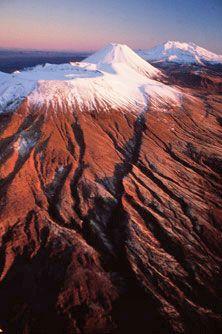 Tongariro National Park Mt Ruapehu the cone of Ngauruhoe behind it, and Tongariro, Tongariro National Park, North Island, New Zealand