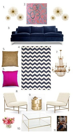 navy, pink and gold