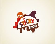 Sticky Taco Logo design - Taco restaurant Identity, Could have the 'sauce splat, Taco' element changed to fit any number of food style eg: the sticky noodle etc Price $399.00