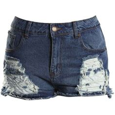 Boohoo Plus Felicity Ripped Denim Shorts ($40) ❤ liked on Polyvore featuring shorts, bottoms, boyfriend denim shorts, denim short shorts, destroyed denim shorts, short jean shorts and distressed boyfriend shorts
