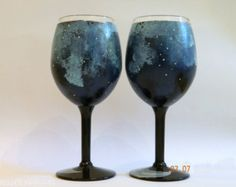 Hand Painted galaxy wine glasses set of 2 by ArianaVictoriaRose