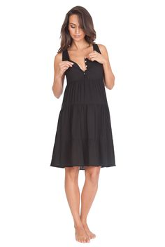 1300559905644 Style yourself Parisian chic this spring in our flirty little black maternity  dress - with a button-down front for easy access nursing!