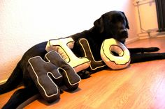 Stoffen letters / Fabric / Cushion letters #DIY #naaien #sewing #tutorial #Labrador #BlackLabrador