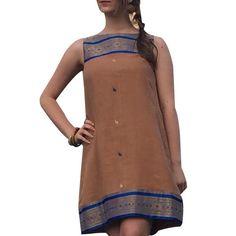 Shubrah, Rajasthan Royal Blue and Taupe Yoke Cotton Upcycled Sari Dress, Size S