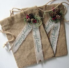 Burlap Gift Bags Two Burlap Bags Woodland by InTheBluebellWoods, $12.00                                                                                                                                                     More