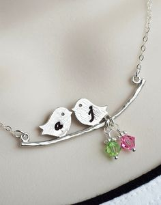 Initial Love Birds on Branch Necklace