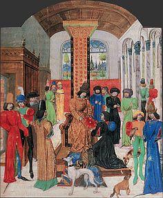 Histoire d'Alexandre, miniature, (Paris, Bibliothèque nationale). Des dignitaires de la cour conversent tandis que Vasco de Lucena offre son livre à Charles le Téméraire.
