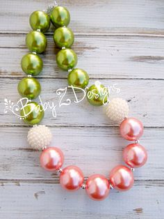 Sage Green Cream and Coral Chunky Necklace Made to Match Matilda Jane's Secret Fields Collection by babyzdesigns