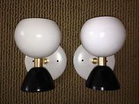 Pair STILNOVO Arteluce WHITE BLACK & BRASS Globe Sconce LAMPS LIGHTS Mid Century