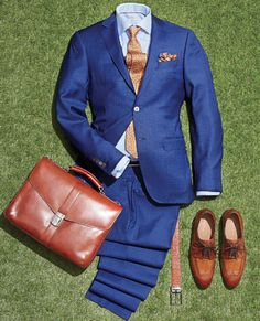 Canali royal blue check suit with a pair of Moretti brogues.