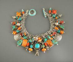 Vintage Joan Slifka Navajo Turquoise Charm  Bracelet