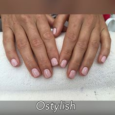 CND shellac manicure in nude knickers with stamping accent