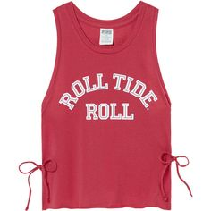 PINK University Of Alabama Crop Muscle Tank (439.520 IDR) ❤ liked on Polyvore featuring tops, red, cropped tank top, muscle tank, pink tank, graphic tank tops and graphic tanks