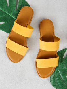 SheIn offers Double Band Slide Sandal YELLOW more to fit your fashionable needs. Cheap Womens Shoes, Womens Summer Shoes, Womens Golf Shoes, Womens Shoes Wedges, Shoes Women, Womens Flats, Wedge Shoes, Women's Shoes, Me Too Shoes