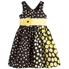 Bonnie Jean Black & Yellow Spotted Dress at Childrensalon.com
