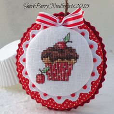 Pretty with the multilayer finishing • Cherry Cupcake Cross Stitch Ornament by SnowBerryNeedleArts