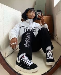 Behind The Scenes By cvshed Edgy Outfits, Mode Outfits, Retro Outfits, Grunge Outfits, Fashion Outfits, Fashion Tips, Hip Hop Fashion, Look Fashion, Korean Fashion