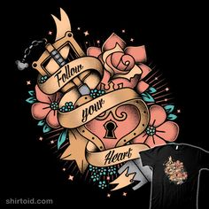 """""""Follow Your Heart"""" by Typhoonic. Tattoo design inspired by Kingdom Hearts. [Sold at The Yetee]"""