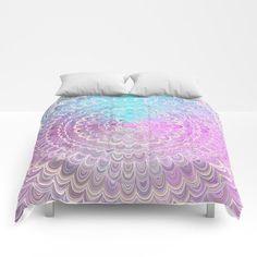 Summer Feather Flower Mandala Comforter by David Zydd Purple Comforter, Duvet Bedding, Mandala Comforter, Flower Mandala, Mandala Coloring, Dorm Decorations, Pastel Pink, Comforters, Duvet Covers