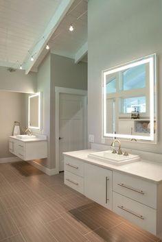 Trendy Bathroom Vanity Mirror With Lights Diy Vanity Mirror, Bathroom Mirror Lights, Floating Vanity, Bathroom Vanity Lighting, Lighted Mirror, Floating Cabinets, Mirror With Built In Lights, Backlit Mirror, Bathroom Wallpaper