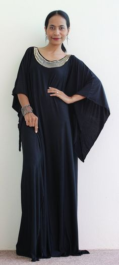 Large black dress Kaftan Kimono Butterfly Maxi Dress by Nuichan, $59.00