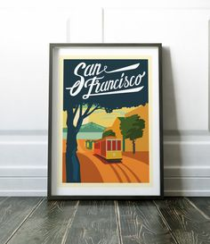 San Francisco poster. Colourful street scene print showing the popular trams of San Francisco. Visit my store for more cities and countries in print. Lots more Travel and City prints are available here: www.etsy.com/uk/shop/NordicDesignHouse?section_id=19806341 Most of my prints are now available for you to print at home in my other shop here: www.etsy.com/uk/shop/NordicDesignHouseCo MY PRINTS Prints are produced on a professional Canon printer using Ca...