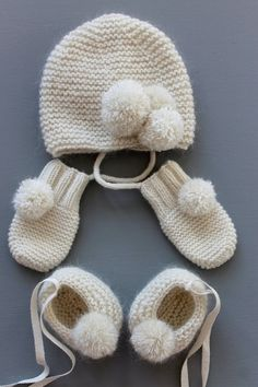 baby booties, baby hat and baby mittens.