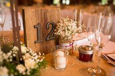 Rustic country barn wedding, Kelley Farm, table numbers