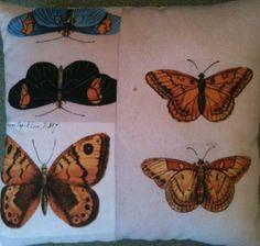 Botanical Butterfly Fabric Cushion - Handmade