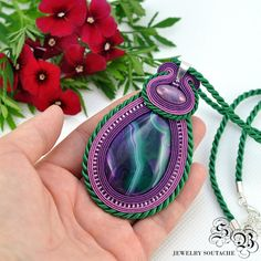 Soutache Pendant with agate stone Soutache by SBjewelrySoutache