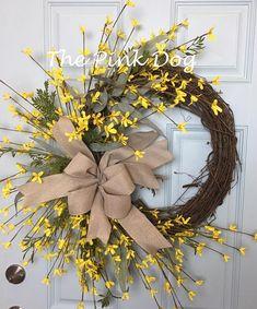 Yellow Spring Wreath Yellow Spring Door Wreath Farmhouse