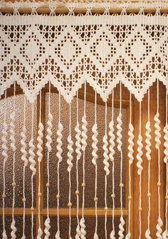 Crochet Curtain Pattern, Crochet Curtains, Boho Curtains, Rustic Curtains, Country Curtains, Beaded Curtains, Curtain Patterns, Rideaux Boho, Crochet Leaves