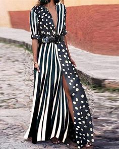 V-Neck Striped Polka Dot modest maxi dress modest dress modest maxi dress formal maxi dress summer maxi dress modesty maxi dress casual boho maxi dress maxi dress outfit Modest Dresses, Fall Dresses, Casual Dresses, Summer Dresses, Summer Maxi, Spring Summer, Formal Outfits, Vacation Dresses, Evening Dresses