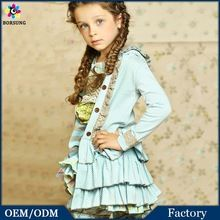 2015 Latest Design For Cutting Spa Blue Polk Dots Layered Ruffled Giggle Moon Remake Outfits Hooded Girls Jackets