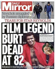 Burt Reynolds cover on the Daily Mirror. Newspaper Front Pages, Newspaper Article, Old Newspaper, Newspaper Headlines, The Headlines, Hollywood Music, Celebrities Then And Now, Burt Reynolds, Headline News