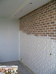 Cegła ozdobna na ścianie z burtą LED podświetlona ściana. Usługi Remontowe Warszawa.