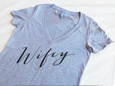 Wifey Shirt Wifey Womens VNeck Bridal Shower Gift by ShirtMarket
